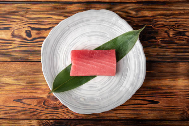japanese raw tuna sashimi block stock photo