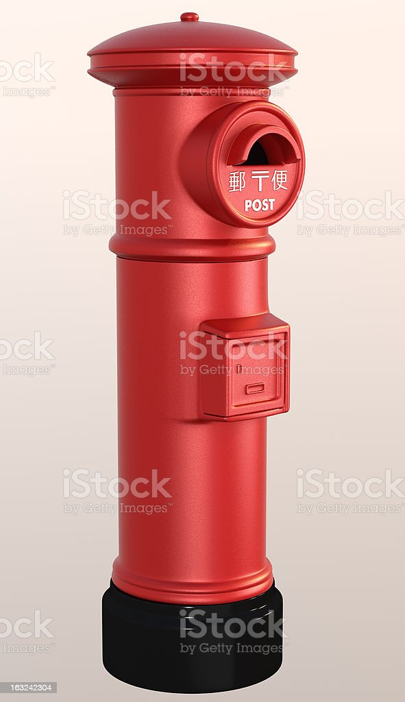 Japanese red post box royalty-free stock photo
