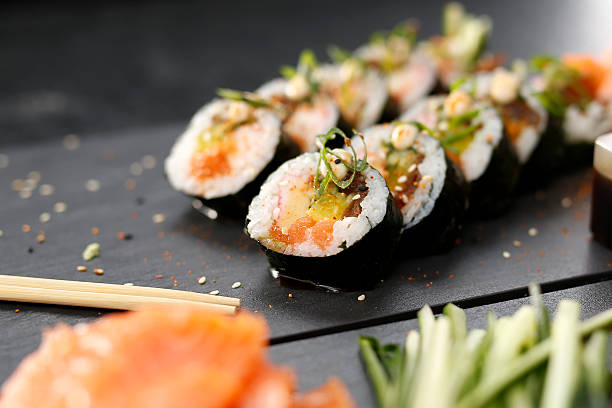 japanese restaurant, sushi dish - japanese food stock photos and pictures