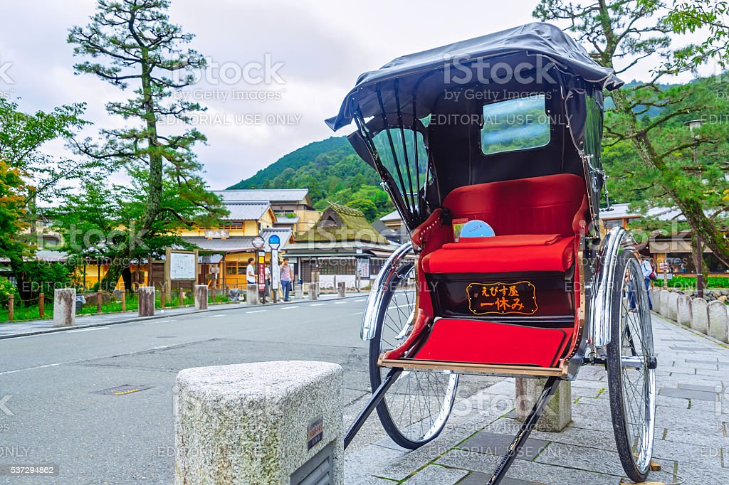 Japanese rickshaw in Gion district, Kyoto, Japan stock photo