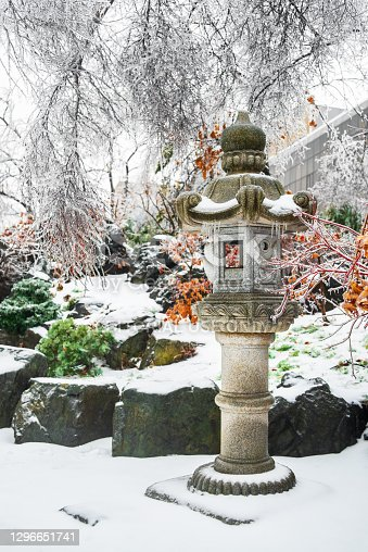 istock Japanese rock garden after a winter ice storm. 1296651741