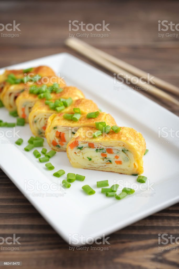 Japanese rolled omelette royalty-free stock photo