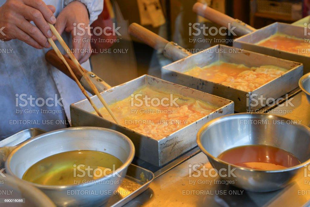 Japanese rolled omelette, Tokyo, Japan stock photo