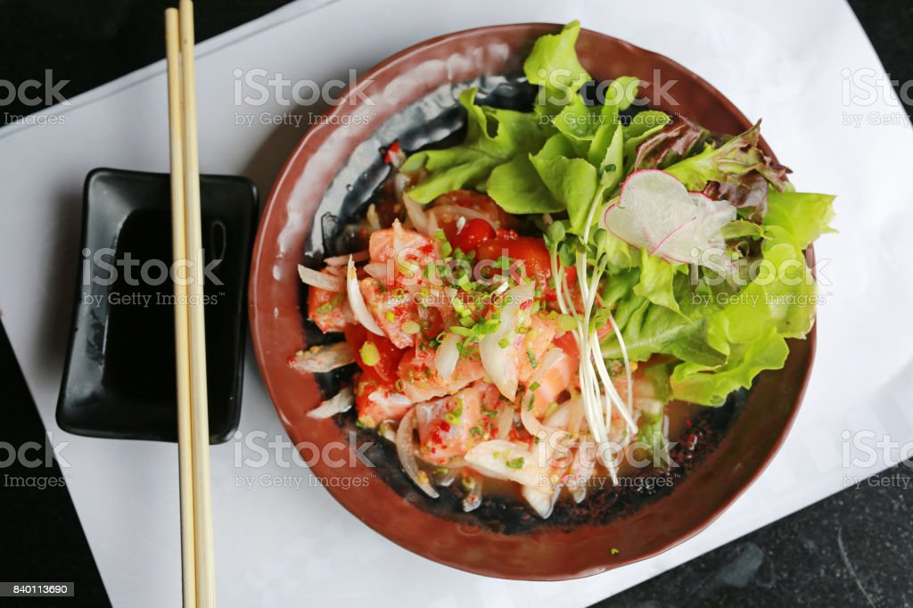 Japanese Salmon Tataki, Salmon Spicy Salad, Thai Styled Japanese Food,Top view. stock photo