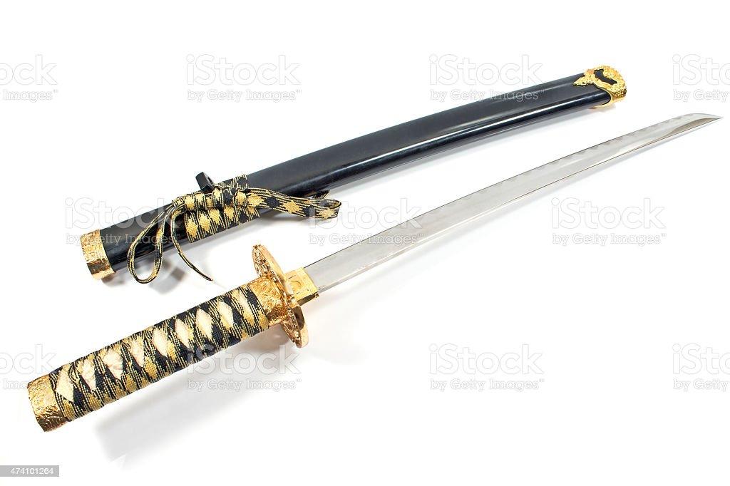 Japanese samurai katana sword isolated on white stock photo