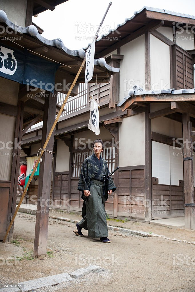 Japanese Samurai prowling the streets stock photo
