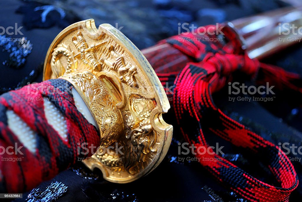 Japanese Samurai Sword (Katana) Hand Wrap and Guard stock photo
