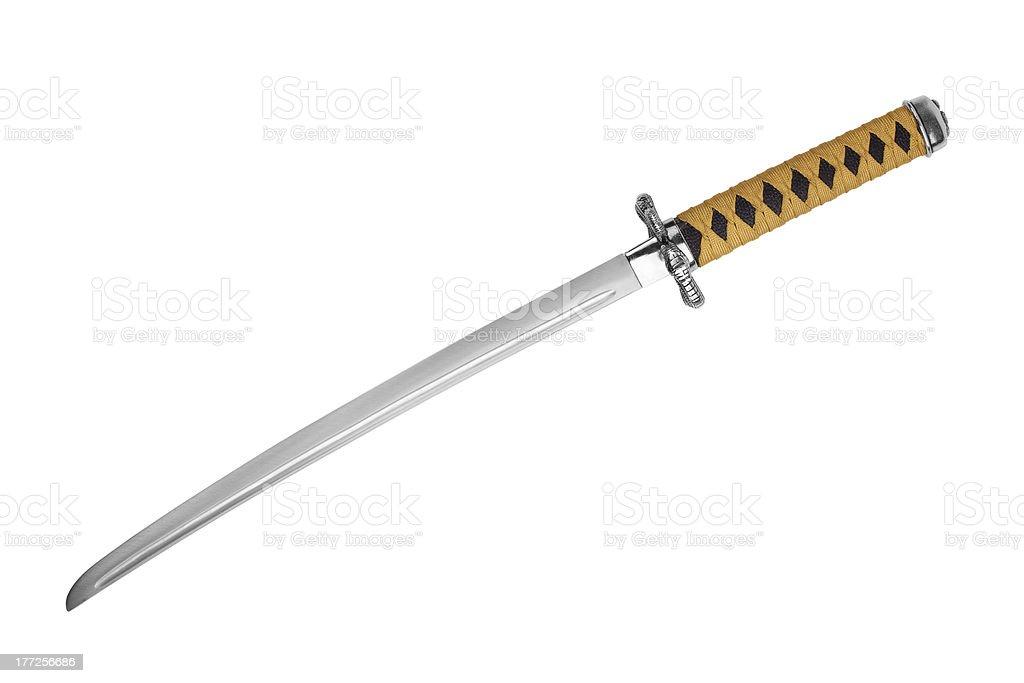 Japanese samurai sword with a yellow-black ink stock photo