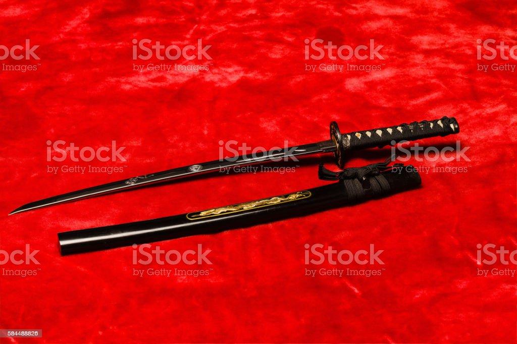 Japanese  Samurai Wakizashi Sword stock photo