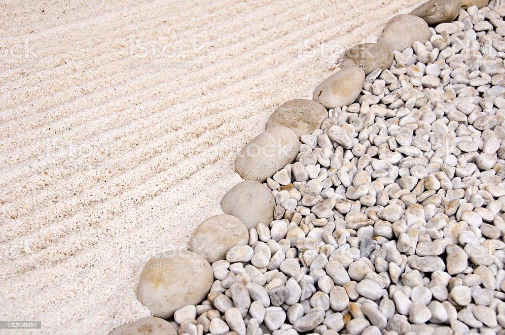 Japanese sand and stone garden stock photo