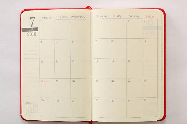 page de calendrier japonais Réservez juillet fond texturé - Photo
