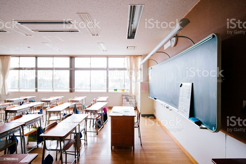 Japanese school classroom, traditional wooden desks and chairs, blackboard stock photo