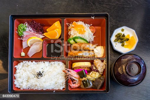 istock Japanese seafood bento and miso soup 643390470