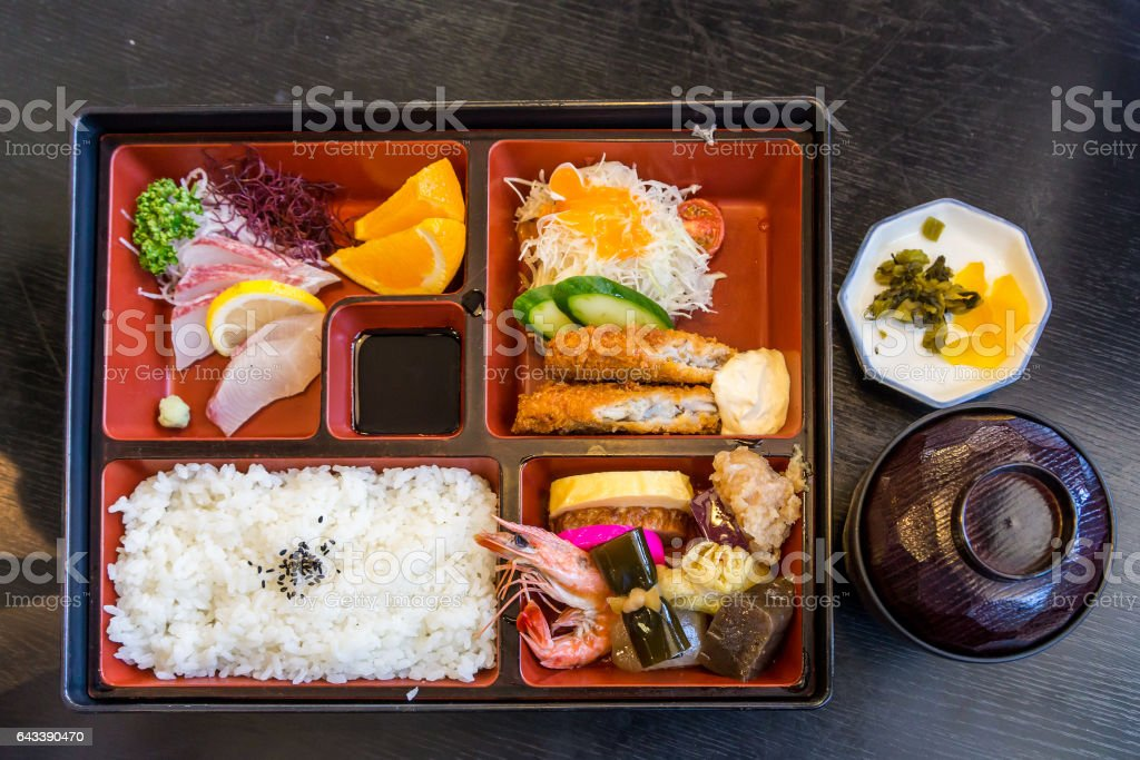 Japanese seafood bento and miso soup stock photo