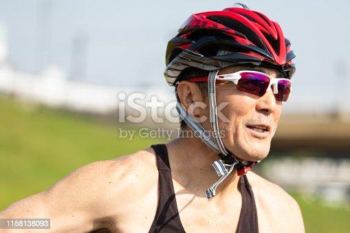 istock Japanese senior cyclist 1158138093