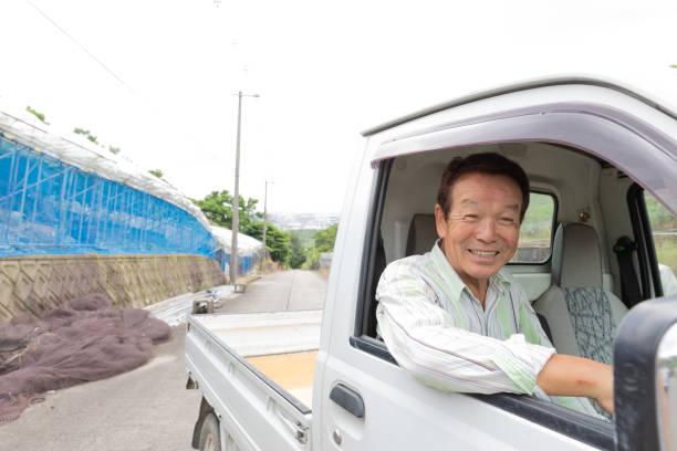 japanischer senior mann fährt klein-lkw - pickup trucks stock-fotos und bilder
