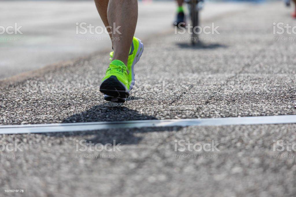 Japanese senior runner stock photo