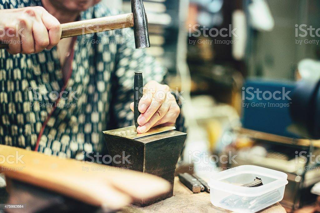Japanese senior woman handmade craft圖像檔