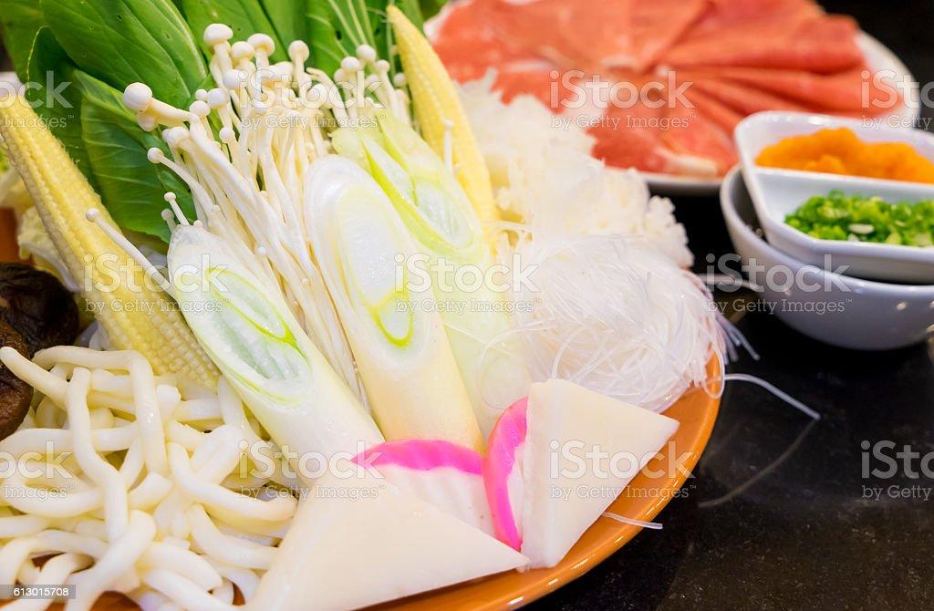 Japanese Shabu Shabu raw vegetable and meat stock photo