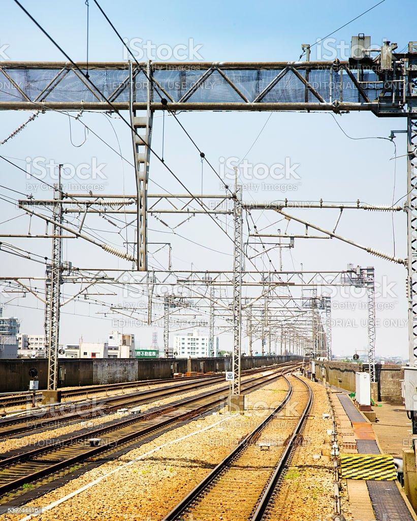 Japonés Shinkansen vía férrea con sistema eléctrico foto de stock libre de derechos
