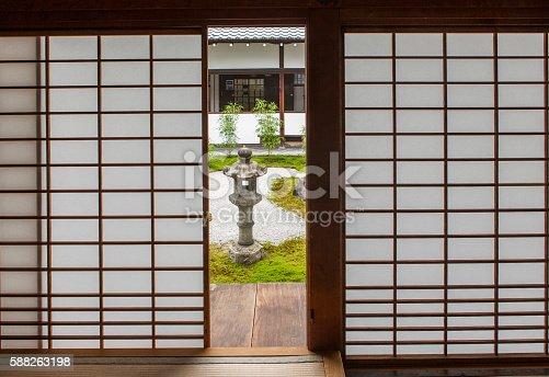 Japanese traditional shoji washi paper door looking at the zen garden at Chionji temple kyoto japan