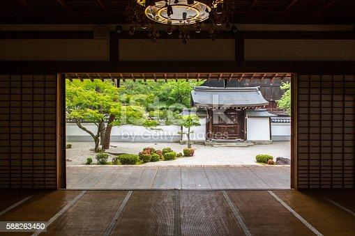 Japanese traditional shoji washi paper door opening to zen garden at Chionji temple kyoto japan