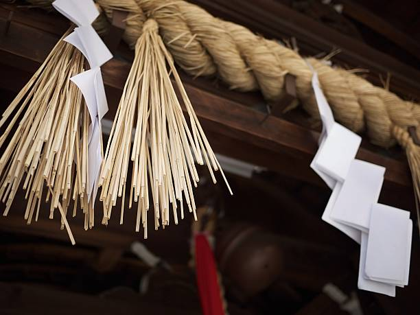 Japanese shrine rope and straw decoration  shrine stock pictures, royalty-free photos & images