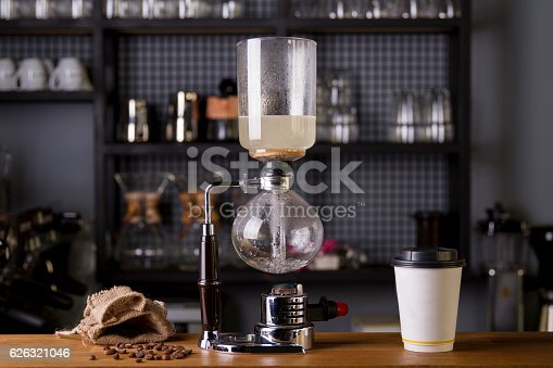 istock Japanese Siphon Coffee Maker with Halogen Beam Heater 626321046