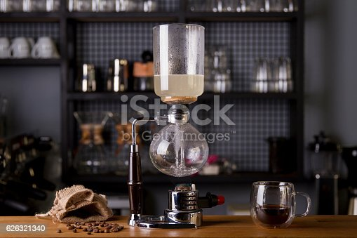 istock Japanese Siphon Coffee Maker with Halogen Beam Heater 626321340