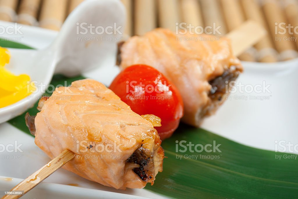 Japanese skewered  salmon royalty-free stock photo