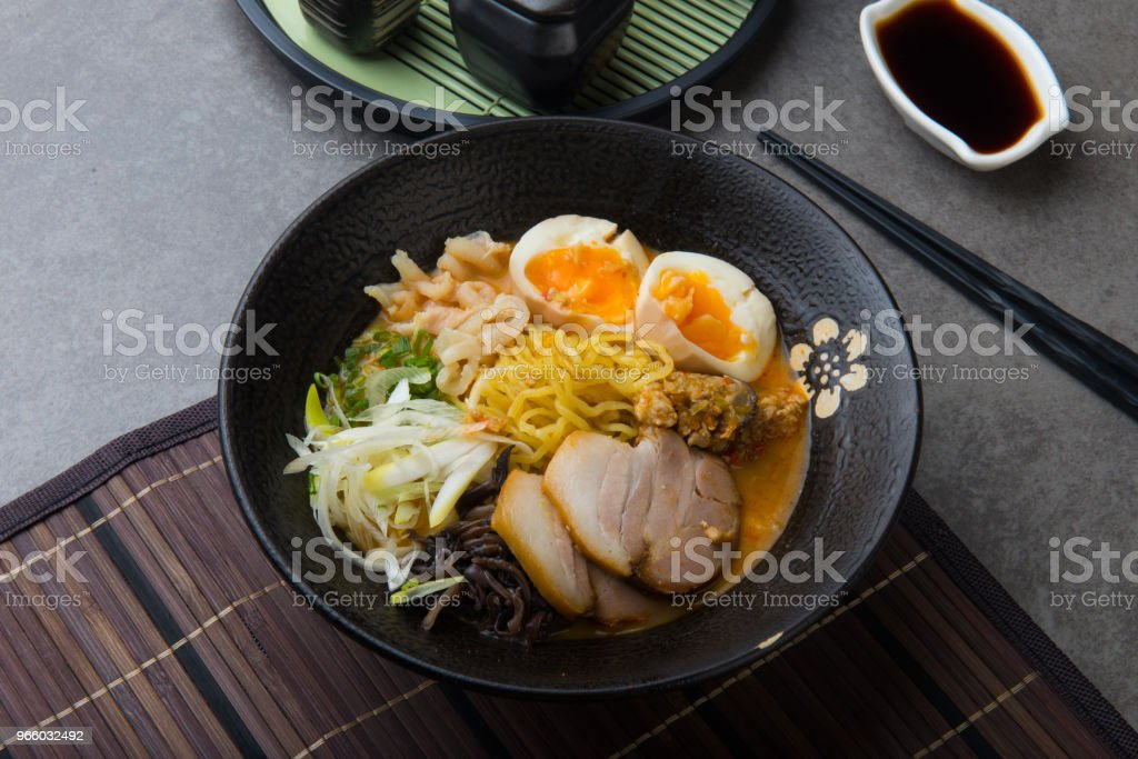 japanese spicy miso ramen noodles with pork belly and marinated egg - Royalty-free Asia Stock Photo