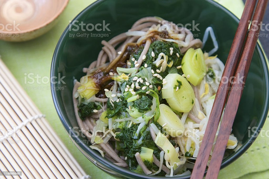 Japanese Spinach Leek Salad royalty-free stock photo