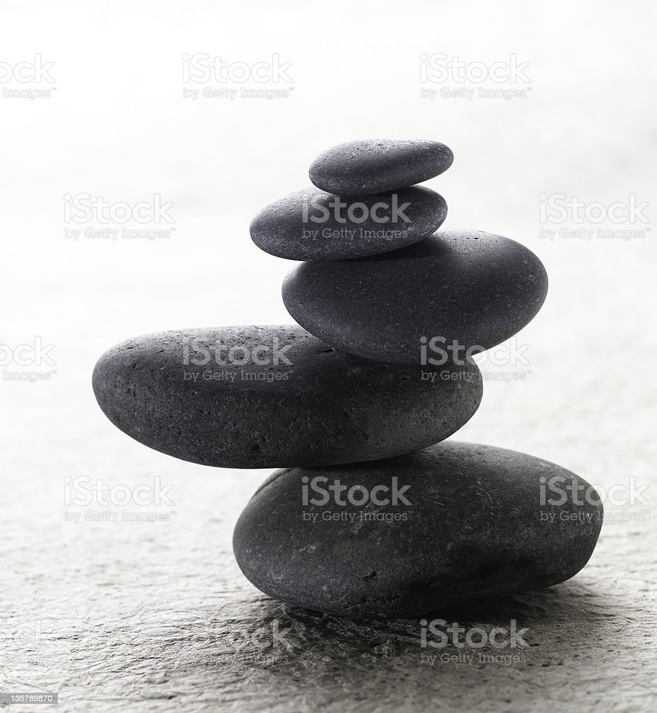 Japanese stacking meditation zen stones stock photo