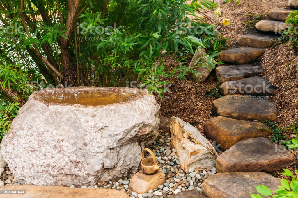 Japanese Stone Garden Landscape In Summer Royalty Free Stock Photo