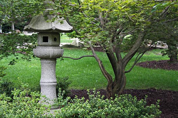 Japanese Stone Garden Lantern stock photo