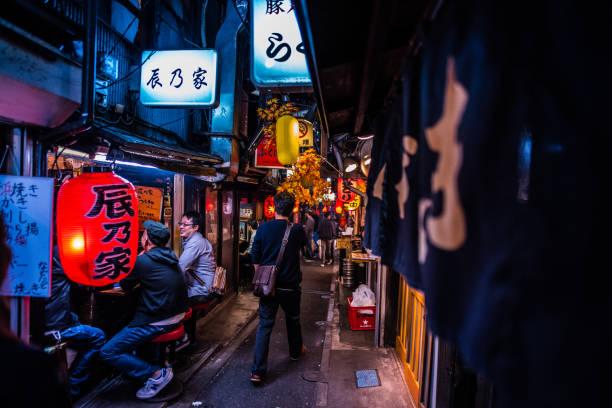 japanische Straße Nahrung bei Omoide Yokocho Shinjuku Tokyo Japan, Piss-Gasse – Foto