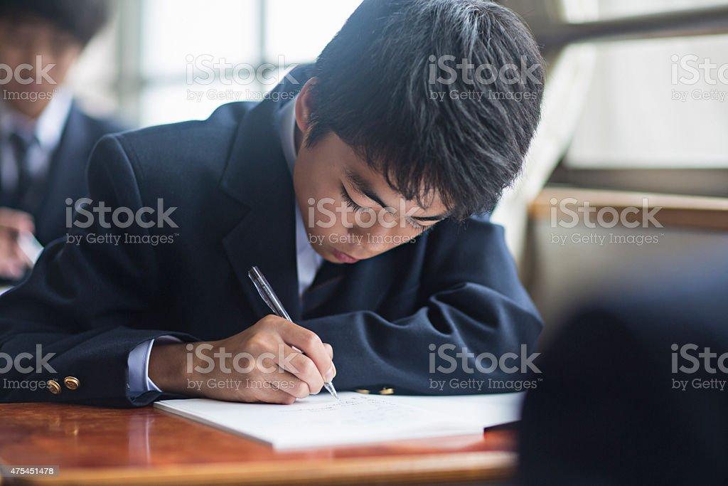 日本の学生の学校の少年 ストックフォト