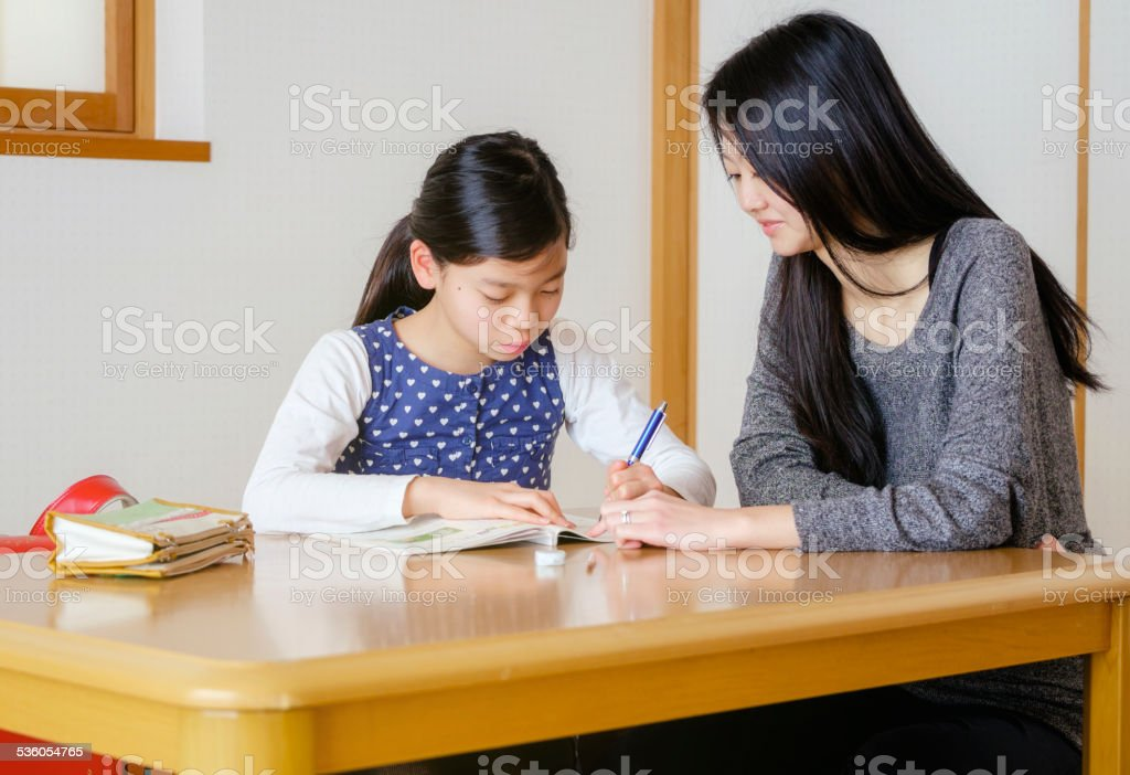 Japanese Student with Tutor royalty-free stock photo