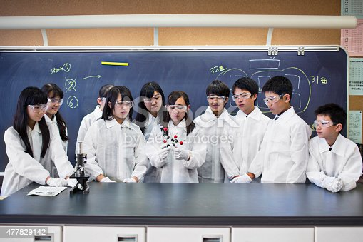 istock Japanese students examining a molecular model at the science class 477829142