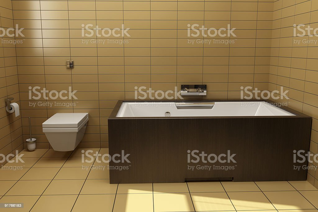 japanese style bathroom with brown tiles royalty-free stock photo