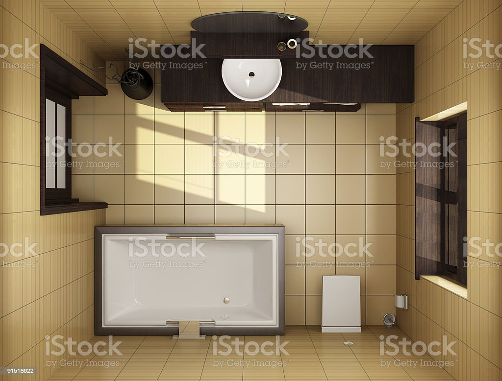 japanese style bathroom with brown tiles. top view royalty-free stock photo