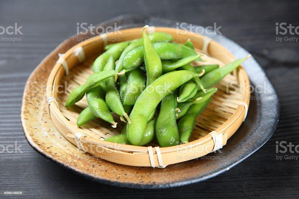 Japanese style boiled beans EDAMAME stock photo