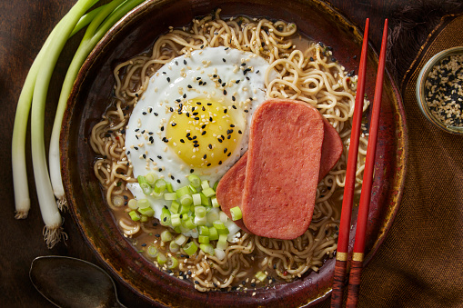 Japanese Style Breakfast with Fried Canned Ham, Ramen and a Fried Egg