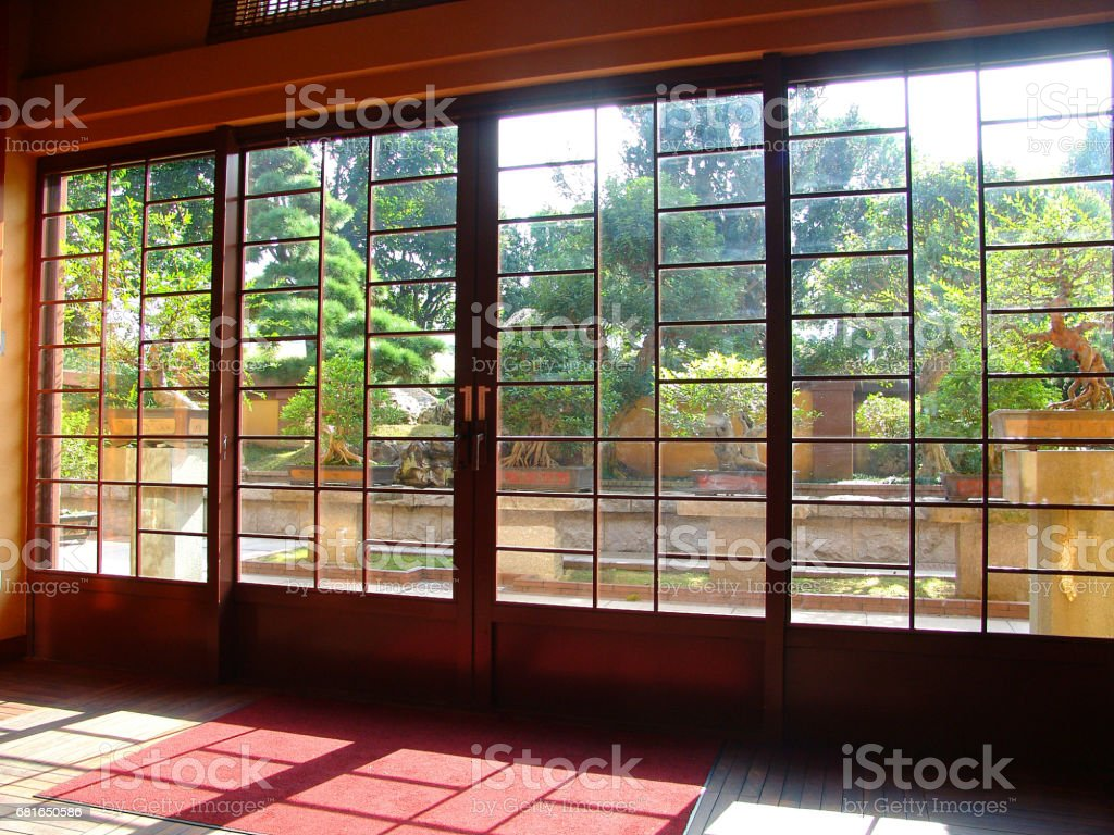 Japanese style doors stock photo