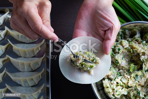 Japanese-style dumplings are chopped and mixed with leek, leeks, ground pork, cabbage, garlic and ginger. The wrapping skin is made of flour. It is typical to bake and eat in a frying pan.