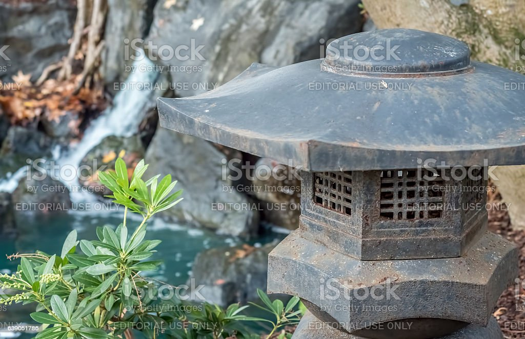Japanese style garden ornamental lantern stock photo