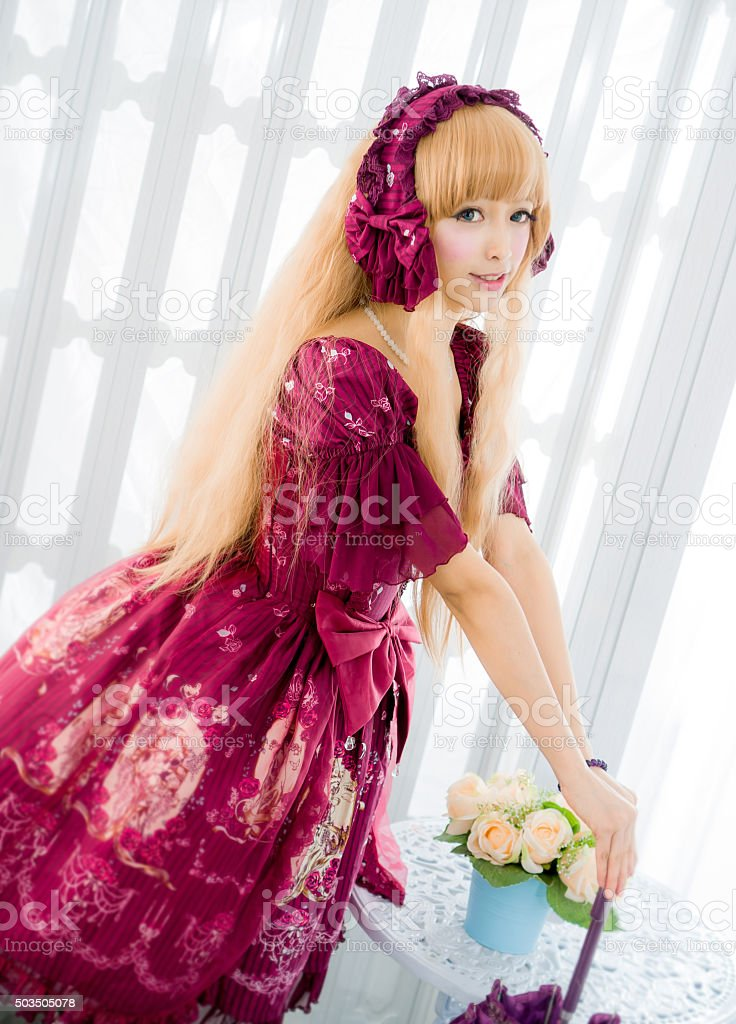 japanese style lolita maid cosplay cute girl stock photo
