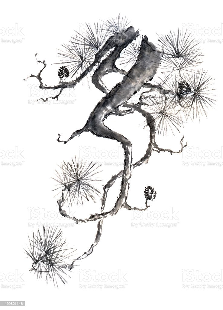 Japanese style original sumi-e pine branch ink painting. stock photo