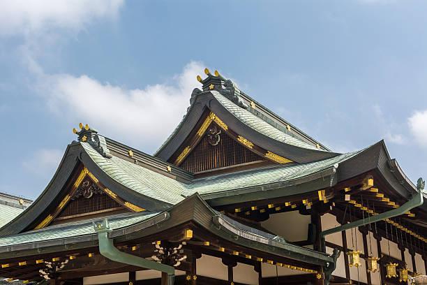 Japanese style roof Japanese style roof at Osaka Tenmangu, Osaka, Japan, Asia. shinto shrine stock pictures, royalty-free photos & images