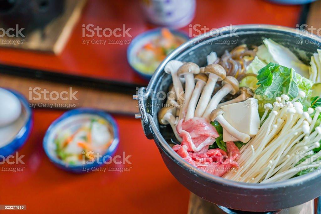 Japanese sukiyaki stock photo